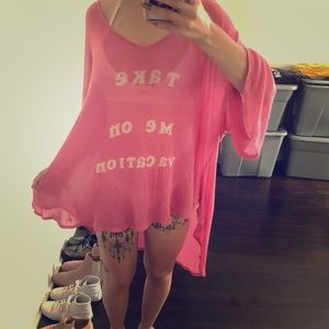 Wildfox Take me on vacation oversized swim coverup